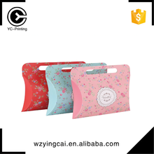 Lovely gift packaging transparent printed colorful hanger pillow case box with handle