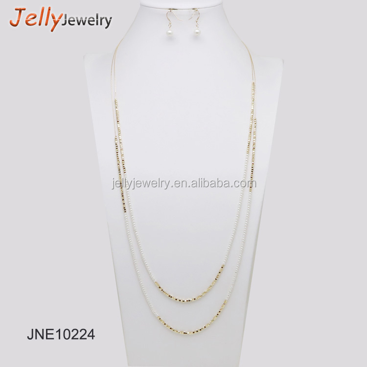 2018 latest design two layer gold mini beads two tone strand beaded necklace with earrings