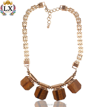 NLX-00185latest wholesale natural gemstone necklace tiger eye stone pendant necklace gold choker necklace