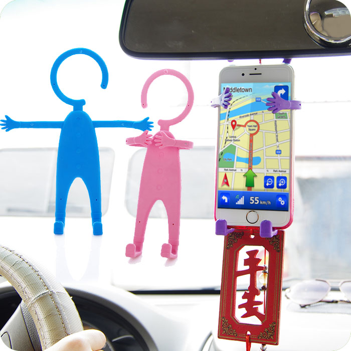 Funny accessory people man shape car phone silicone holder with stand
