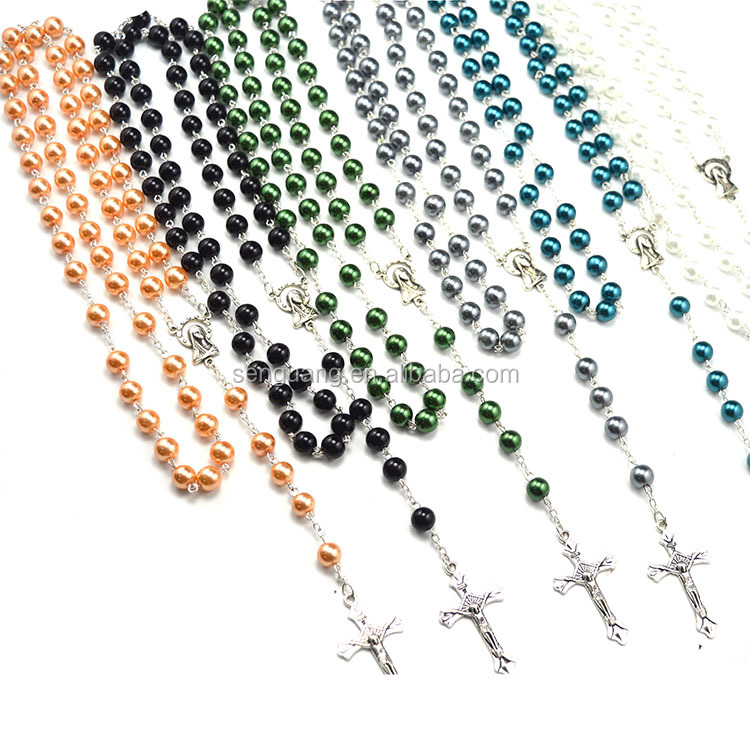 religious glass beads rosary,glass rosary beads catholic necklace,Catholic beads necklace