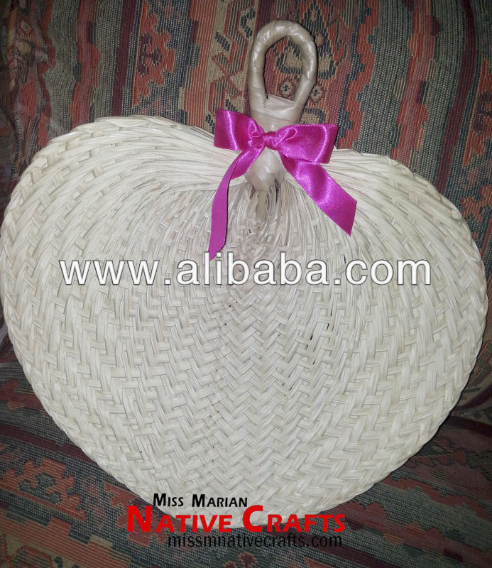 Large Buri Palm hand fans wedding favors