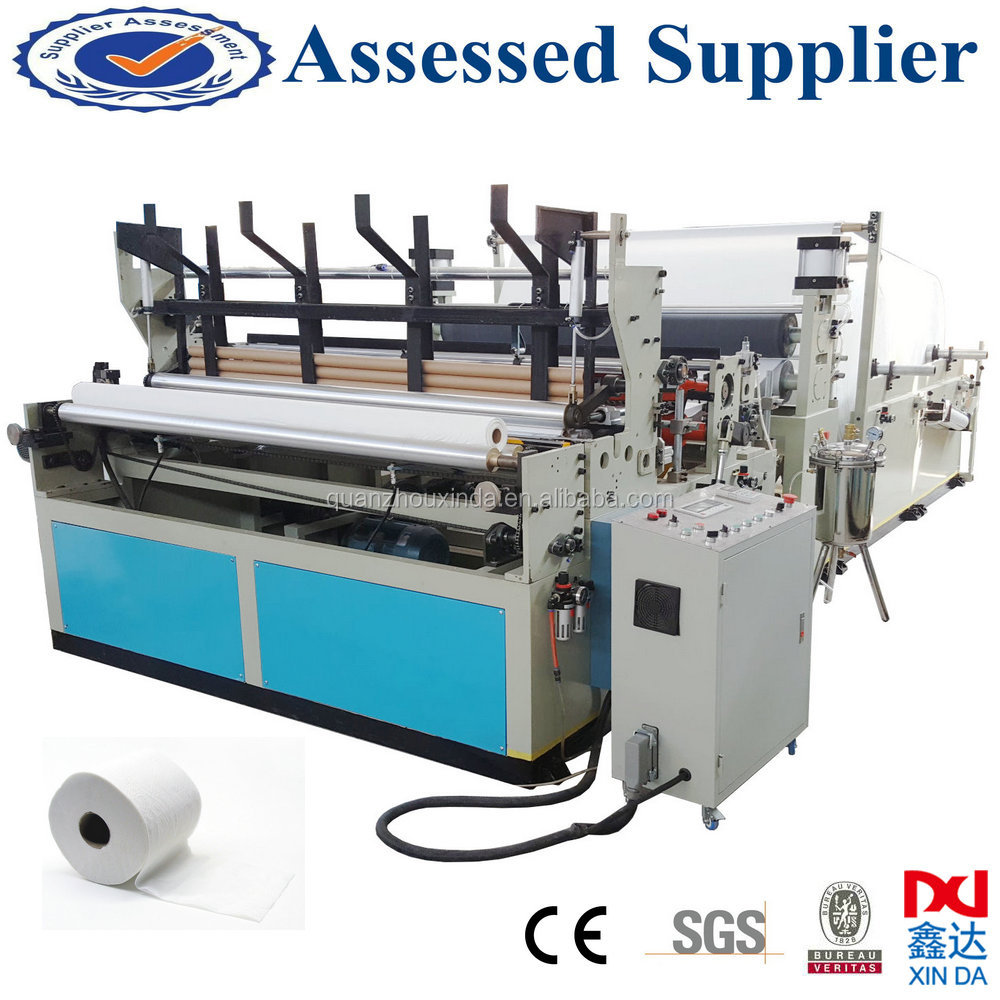 Automatic tissue roll perforated household embossed rewinding toilet paper making machine