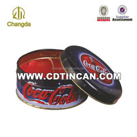 CMYK+PMS printing round biscuit packaging metal tin box CD-154