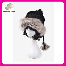high quality cony hair women winter hats with strings and earflap