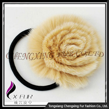 CX-E-09A Wholesale Real Rex Rabbit Fur Elastic Hair Accessory