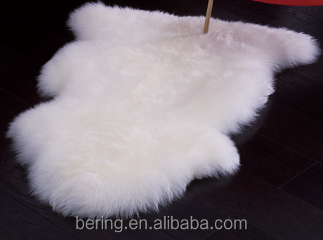 Long wool Sheepskin Rug White Color genuine Leather fur rug