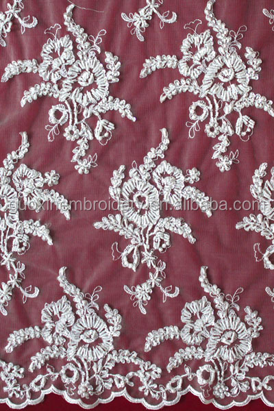 2015 embroidery french lace/cotton embroidery lace material with metallic yarn