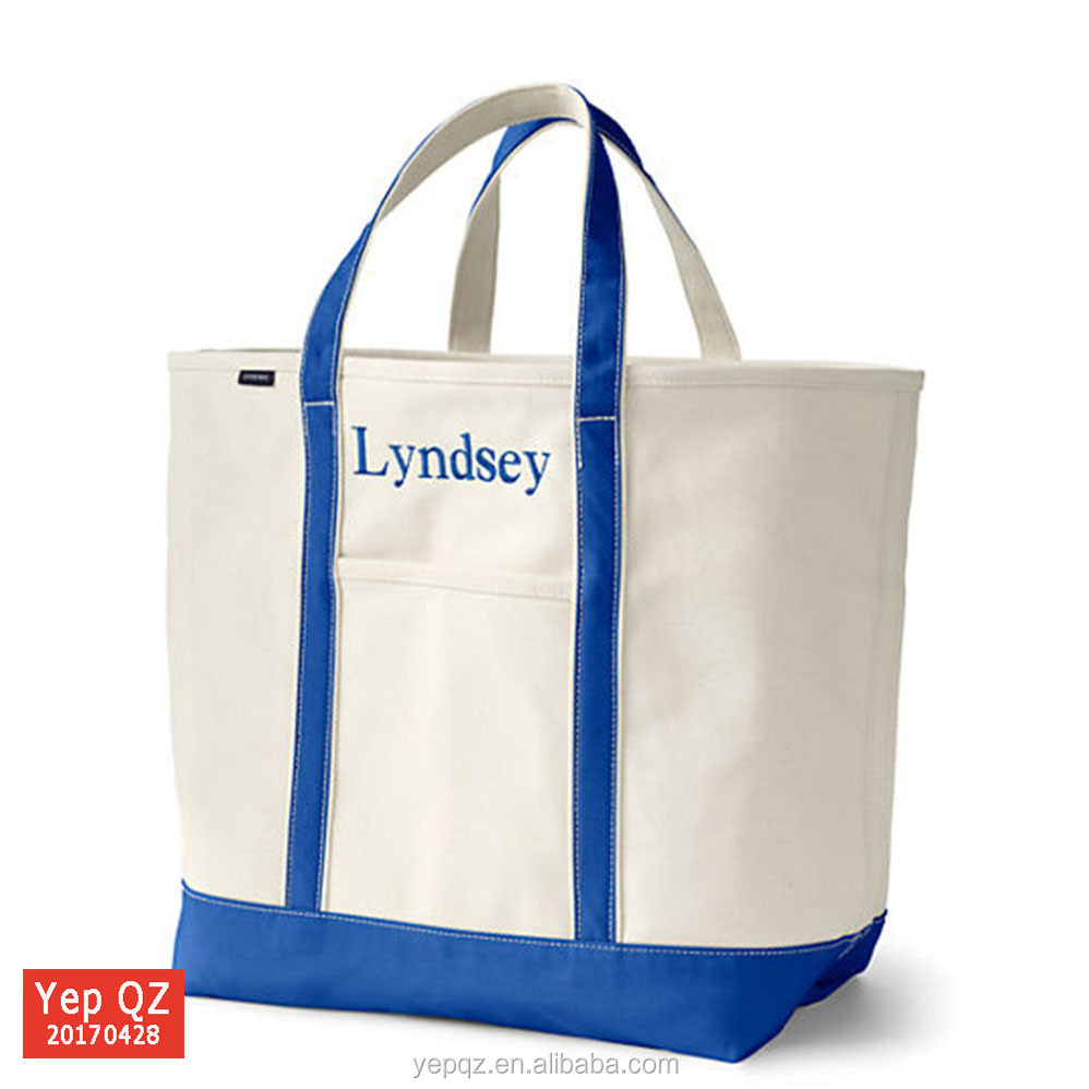 Durable washable boat tote 600d polyester canvas tote bag with custom embroidery logo