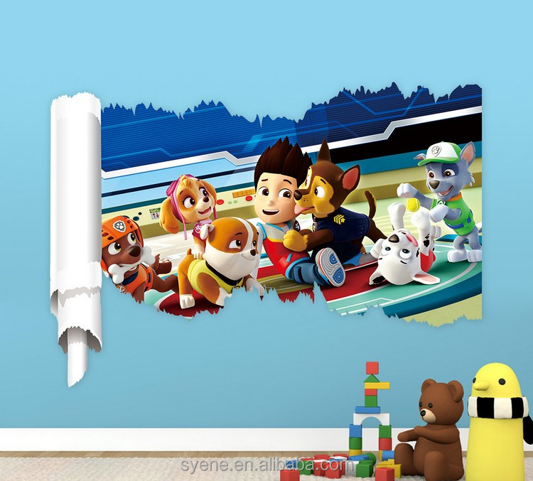 Hot syene 3d window decals Dog patrol Wall Stickers Kid Favorite Cartoon Figure Window Cling Mixable Children Room Daycare Decal