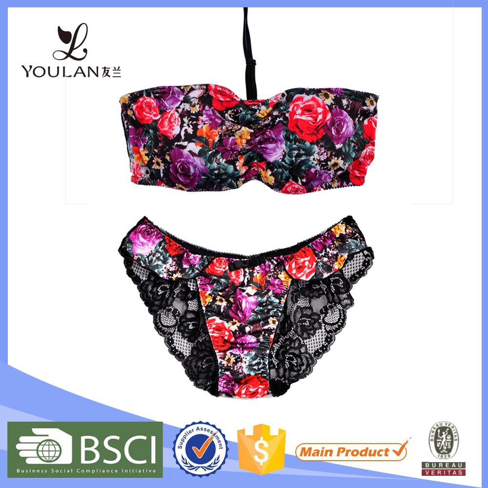 Latex hot lace halter flower printing sexy fancy lace bra transparent panty set