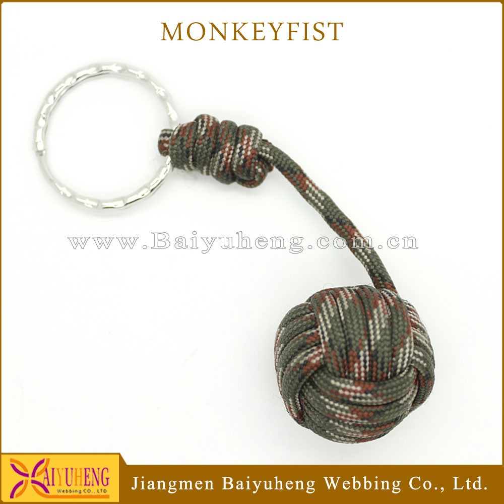high quality monkey fist keychain carabiner key ring fob