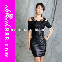 Vintage Type Short Style 2014 New Fashion Women Sex Black Party Dress