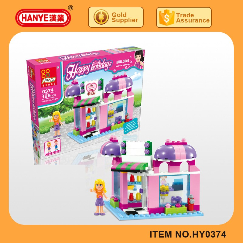 HY0374 2017 Latest happy plastic building block toys for Girls