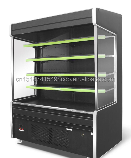 Fan cooling supermarket upright refrigerated display showcase for drinks,dairy,fruits and vegetable