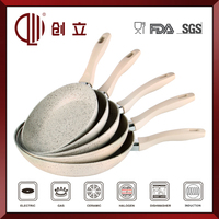white ceramic marble coating carbon steel fry pan