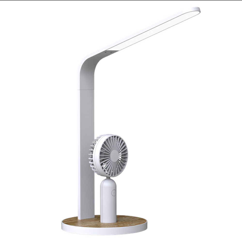 CE approval LED table lamp, dual USB reading lamp with touch mini fan
