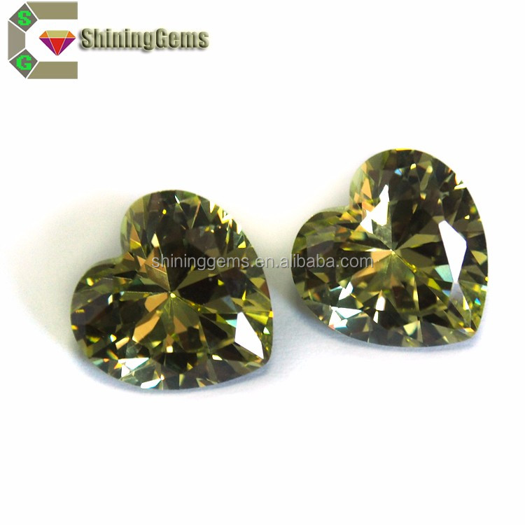 Cheap Factory Prices elaborately lab created heart shape olivine cubic zirconia stone