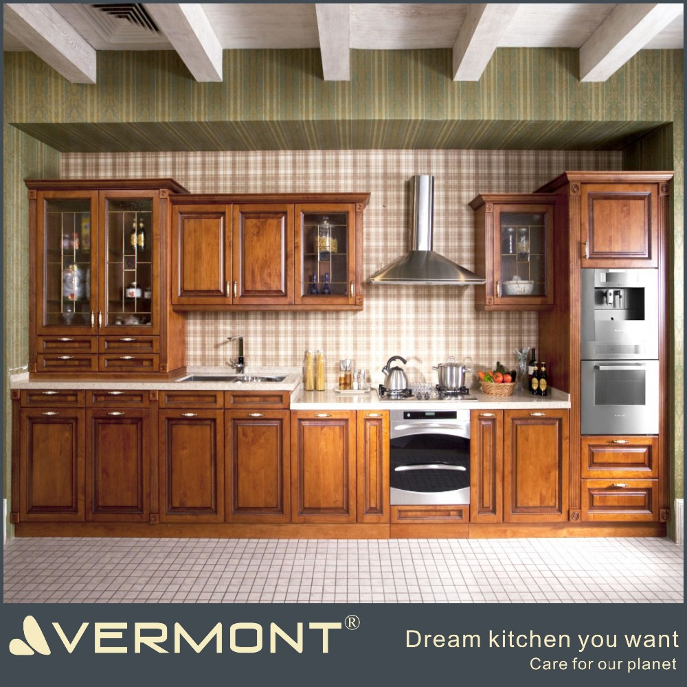 American style luxury solid oak wood kitchen cabinets imported from China