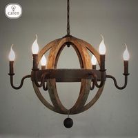 Caren iron with natural wooden classic and distinctive elegance chandelier