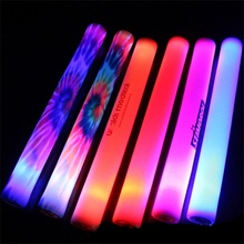 Light-Up Foam Sticks LED Rally Rave Cheer Tube Soft Flashing Glow Batons