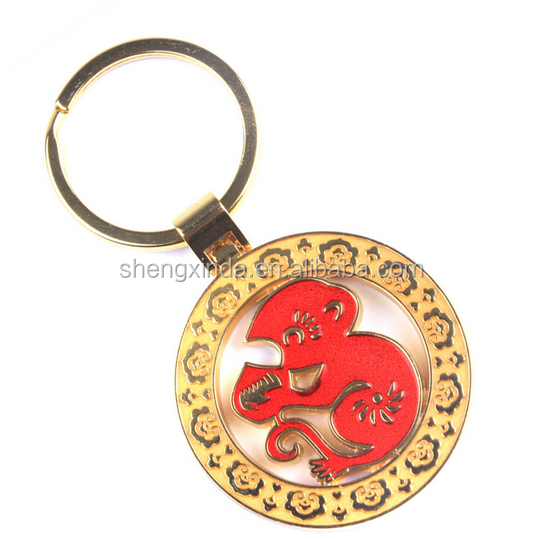 Metal Round Monkey Keychain for Gifts and Souvenirs
