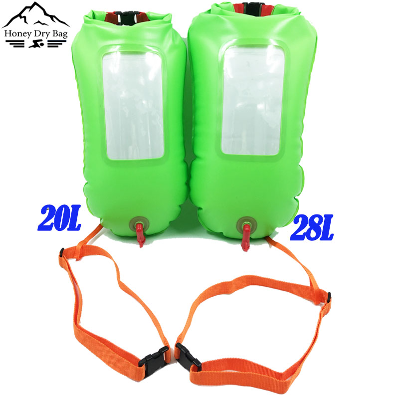 inflatable pvc open water green safe swimming buoy and float dry bag