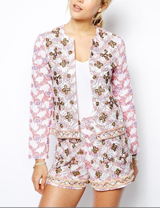 Women Jacket In Floral Print and Embellishment