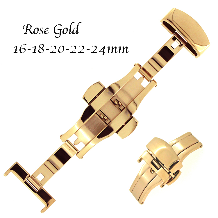Rose Gold Luxury Stainless Steel Deployment Watch Clasp Wrist Watch Buckle