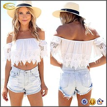 Ecoach OEM Sexy Fashion Women White Blouse Off Shoulder Lace Crop Tops
