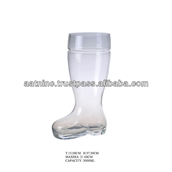 Hot selling glass beer boot for drink
