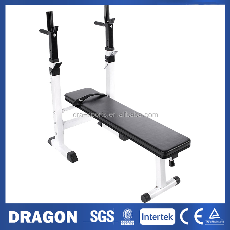Fold Up Weight Bench W300 With Adjustable Barbell Rack Flat Shoulder Chest Press Home Fitness