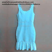 used clothing/ wholesale africa fashion used clothing,dazzling and bright blue colour slimming dress ,baled used clothes