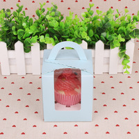 customized pure color paper cardboard muffin cup cake packaging box with clear pvc window