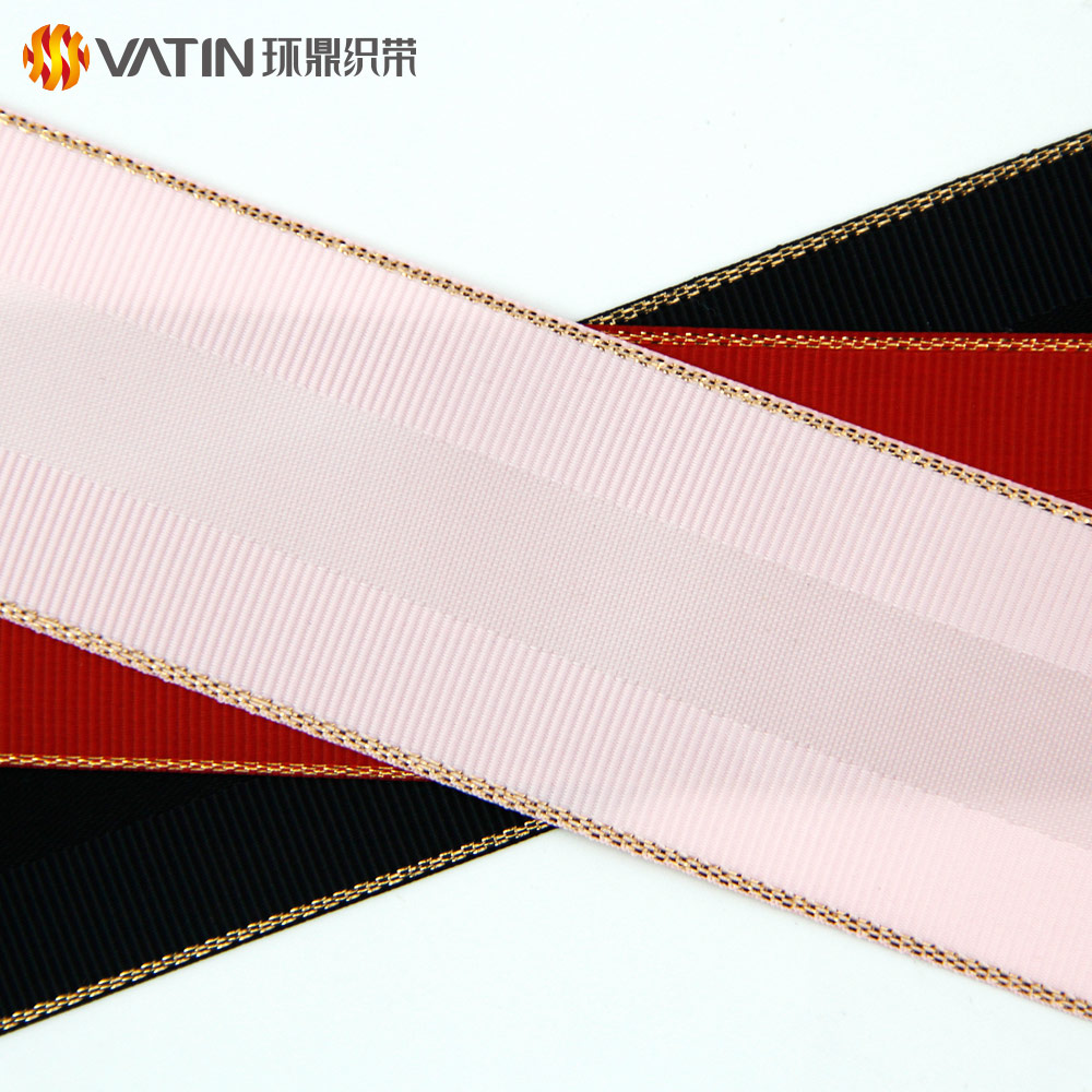 2018 New Products Christmas Gift Golden Grosgrain Woven Edged Satin Ribbon