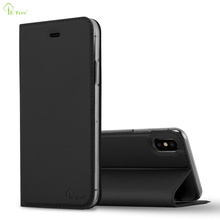 High Quality Ultra Slim Luxury Invisible Magnet Flip Leather Phone Case With Card Slot Stand Back Cover For iPhone X