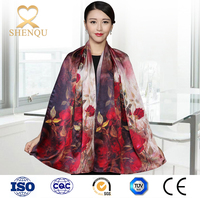 Peacock pattern digital print custom design silk scarf pakistani burqa designs girls plaid double sided pashmina printed shawl
