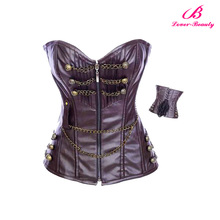 OEM service brown custom lumbar leather corset with chain