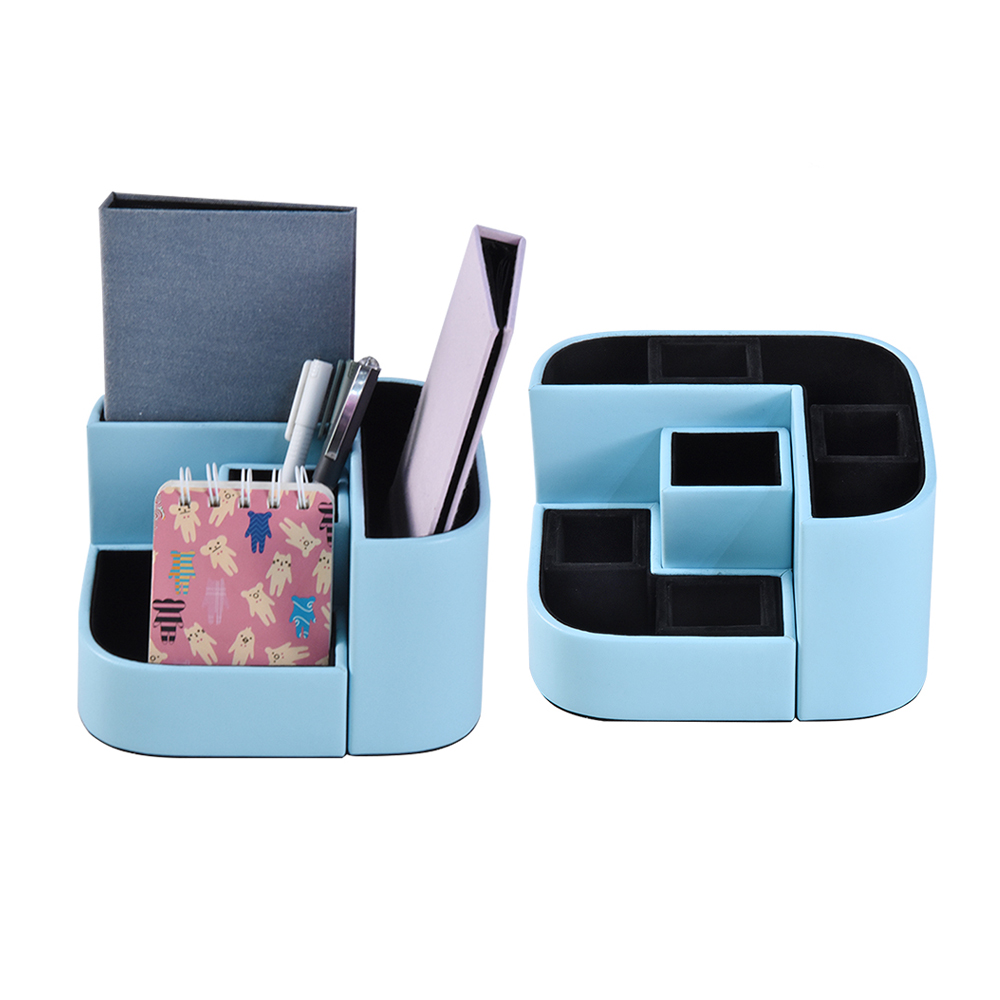 Multifunctional Desk Organizer Office/School Stationery Leather Pen Holder