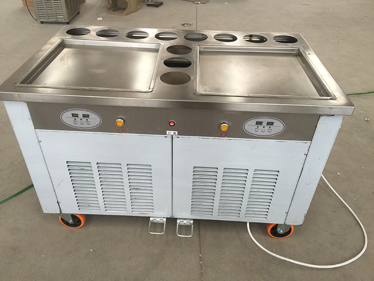 2 Pan 11 Tank Ice Cream Fryer Roller Machine With Glass and Shelves Shelvings