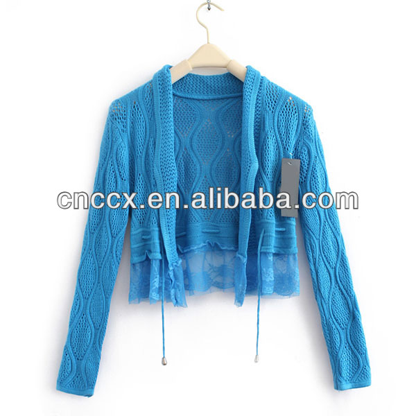 13STC5107 short pattern long sleeves ladies knit shrug