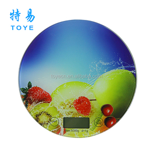 round Electronic Decals kitchen scale 3kg/1g with temper glass