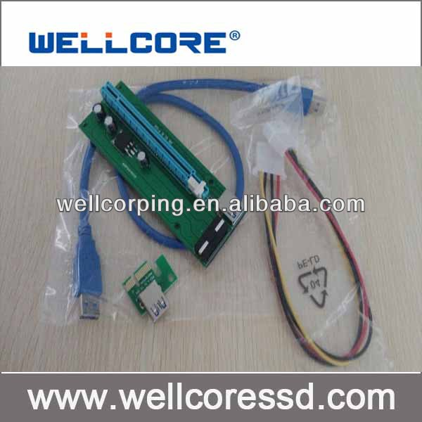 PCI-E 1x to 1X/4x/8x/16x USB 3.0 Riser adapter card ,Wellcore have in stock!!!