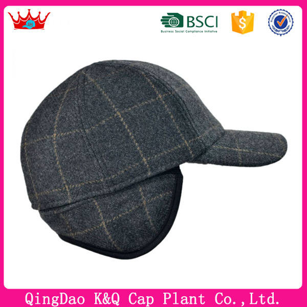 Hot Sale Cheap Funny Plaid Earflap Hats With Visor