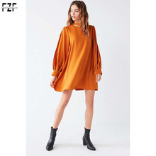 2018 trending products relaxed-fit crew-neck balloon sleeves satin mini dress