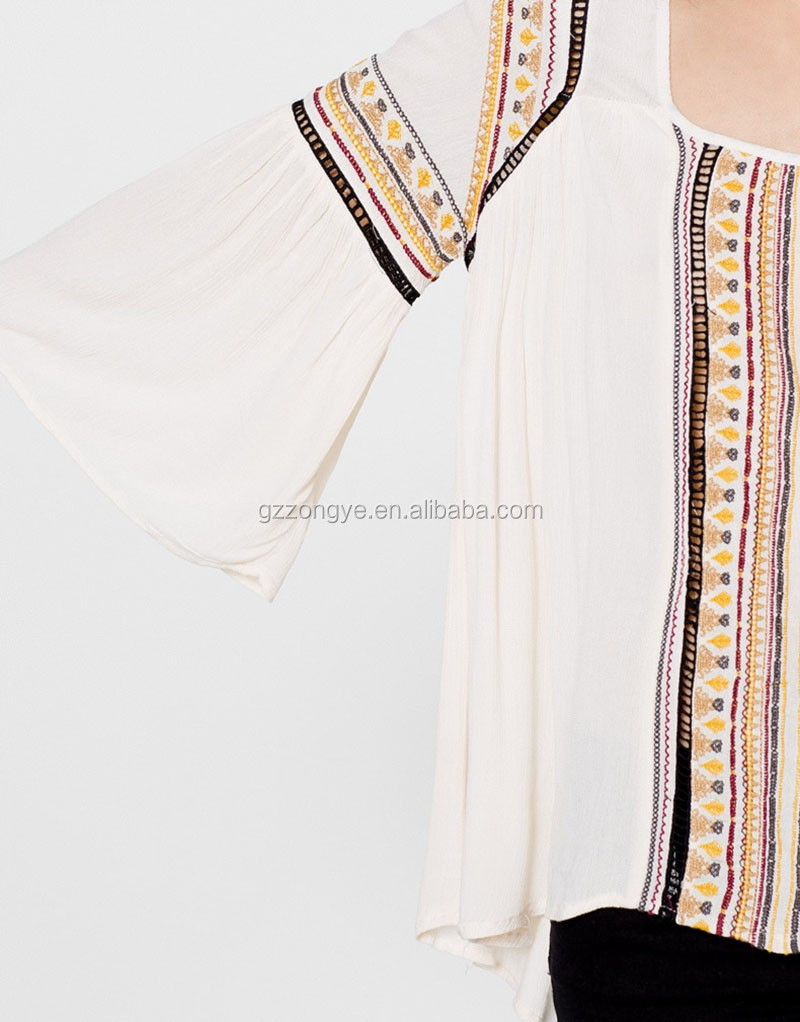 Folk style embroidery women tops and blouses 2017