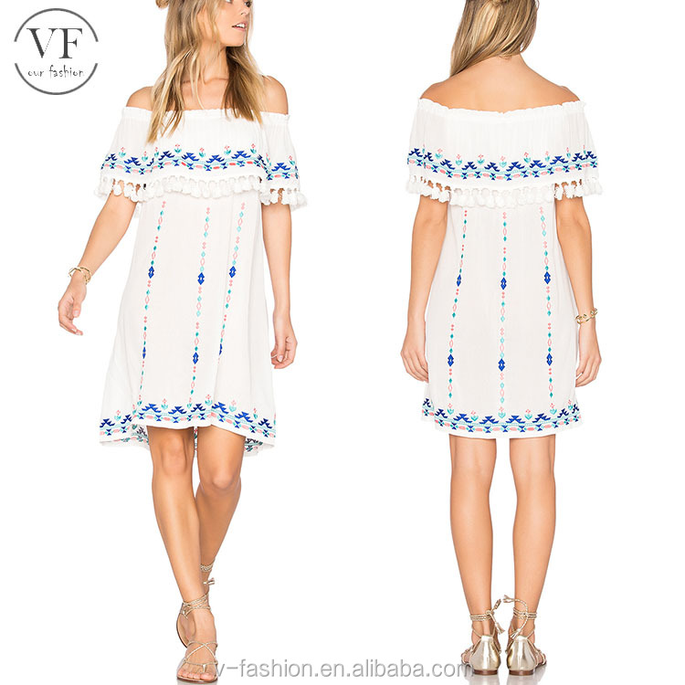 Custom 100% rayon casual shift embroidery dress for women
