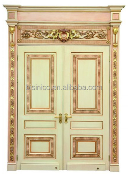 French baroque style gold leaf interior double door palace for French style entry doors