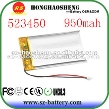 china factory supply 523450 rechargeable 3.7v 950mah li-polymer battery for GPS tracking device