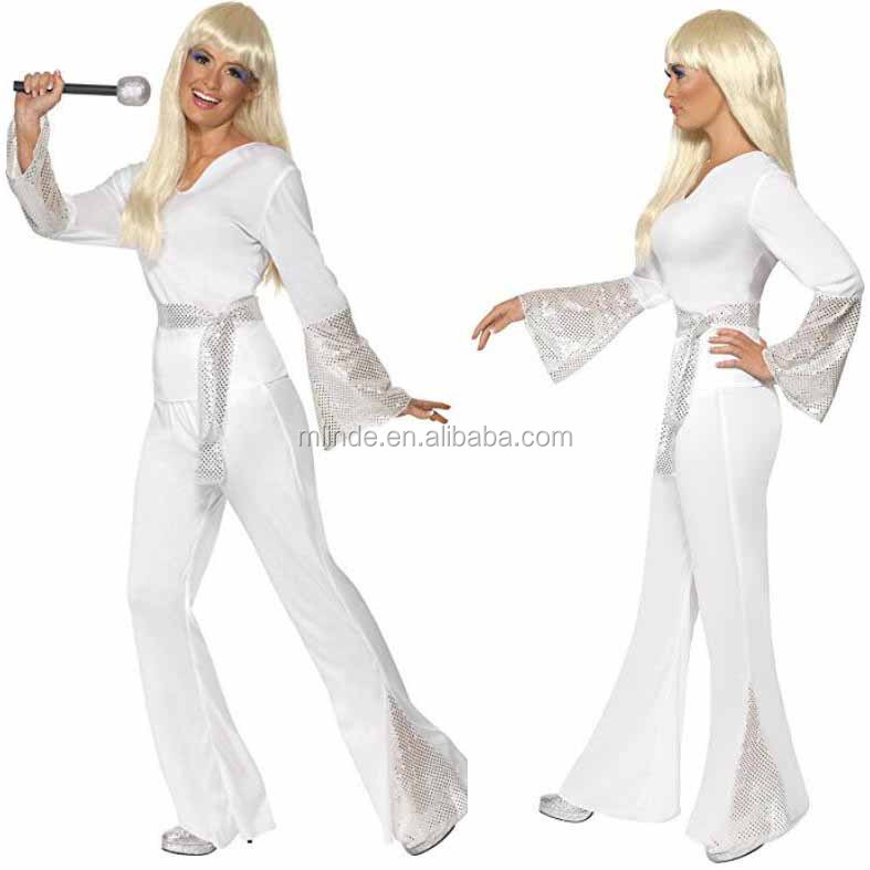 Wholesale Custom Women's halloween white top pants and belt 70's Disco Lady Costumes Adults